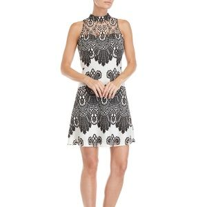 Kensie Floral Lace High Neck Black and White Dress